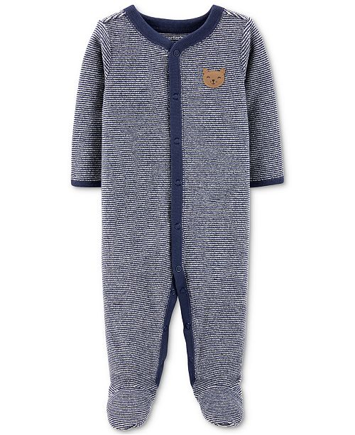 Carter's Baby Boys 1-Pc. Striped Terry Footed Pajamas