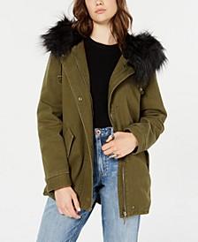 Juniors' Leopard-Print Faux-Fur-Trim Hooded Jacket
