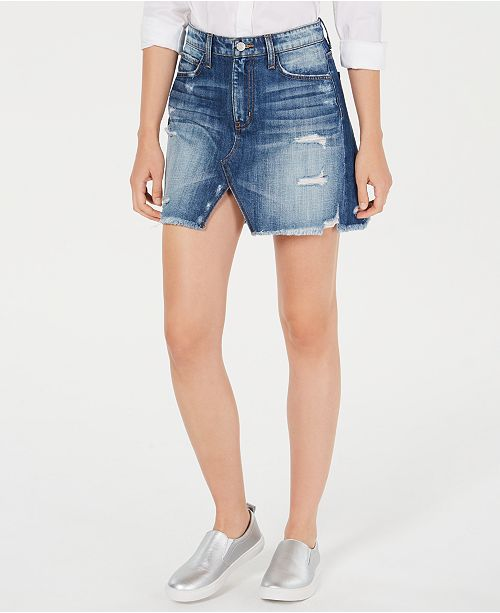 FLYING MONKEY Ripped Cotton Denim Skirt