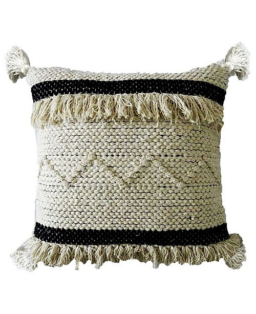 """Chicos Home Accent Throw Pillow 20"""" x 20"""" for Couch Handloom Woven with Fringes"""