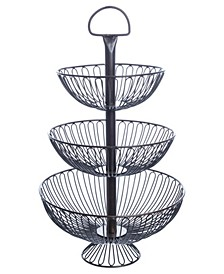 "KINDWER 24"" Three-Tier Decorative Wire Basket Stand"