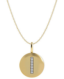 14k Gold Necklace, Diamond Accent Letter I Disk Pendant