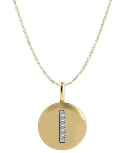 14k Gold Necklace, Diamond Accent Letter I Disk Pendant