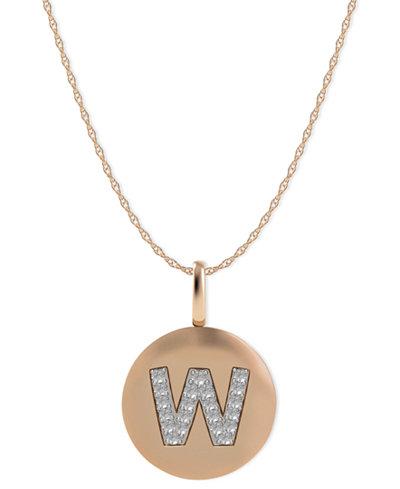 14k Rose Gold Necklace, Diamond Accent Letter W Disk Pendant