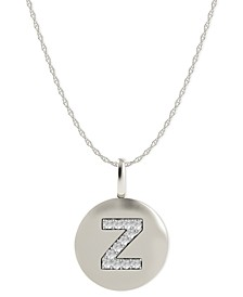 14k White Gold Necklace, Diamond Accent Letter Z Disk Pendant