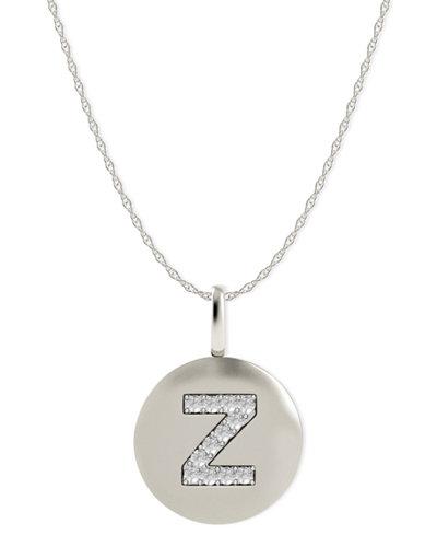 14k White Gold Necklace, Diamond Accent Letter Z Disk Pendant