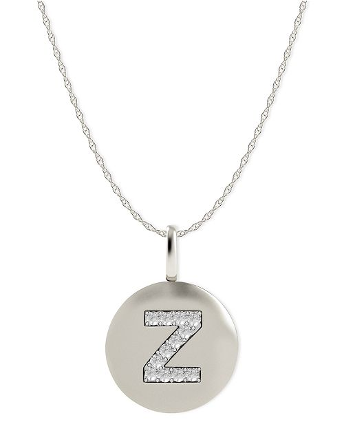 Macy S 14k White Gold Necklace Diamond Accent Letter Z Disk Pendant