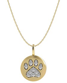 14k Gold Necklace, Diamond Accent Paw Disk Pendant