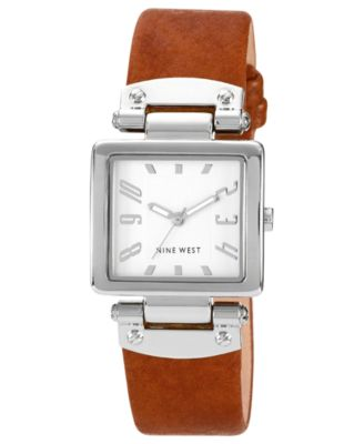 Image of Nine West Women's Luggage Polyurethane Strap Watch 25x28mm NW-1339SVHY