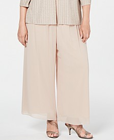 Plus Size Wide-Leg Chiffon Pants