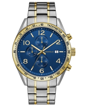 Designed by Bulova Men's Chronograph Two-Tone Stainless Steel Bracelet Watch 44mm