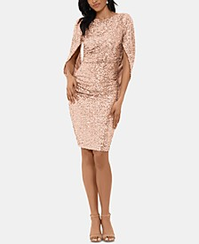 Sequin Draped-Sleeve Dress