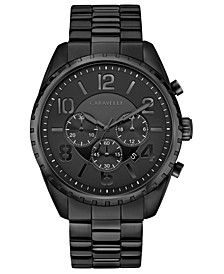 Men's Chronograph Black Stainless Steel Bracelet Watch 44mm