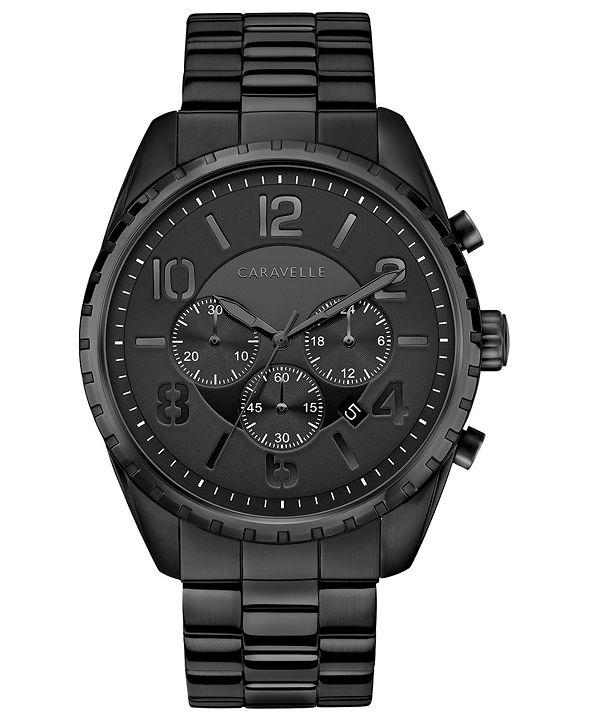 Caravelle Men's Chronograph Black Stainless Steel Bracelet Watch 44mm