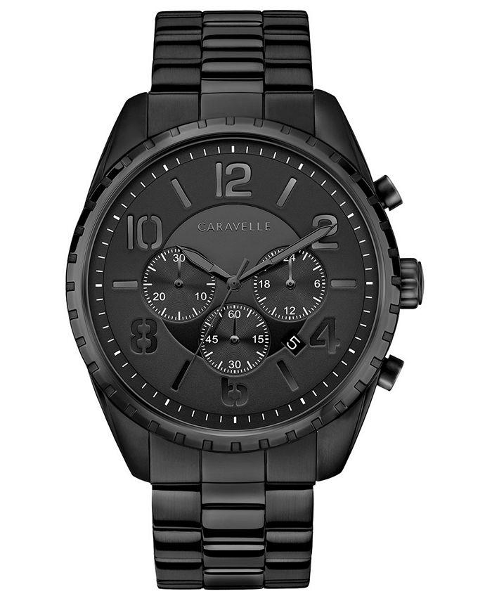 Caravelle - Men's Chronograph Black Stainless Steel Bracelet Watch 44mm