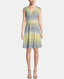 Striped Surplice-Neck Dress