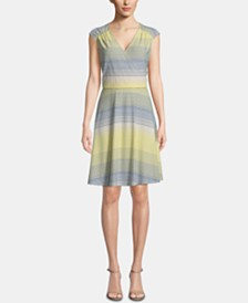 ECI Striped Surplice-Neck Dress