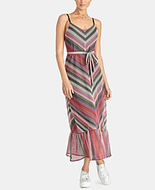 Finn Chevron-Striped Ruffle-Hem Dress