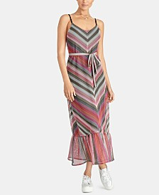 RACHEL Rachel Roy Finn Chevron-Striped Ruffle-Hem Dress