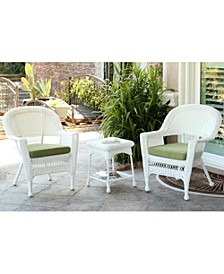 Wicker Chair and End Table Set with Chair Cushion