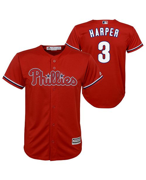 Majestic Big Boys Bryce Harper Philadelphia Phillies Player Replica Cool Base Jersey
