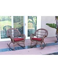 Jeco Santa Maria Wicker Rocker Chair with Cushion - Set of 2