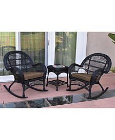 Jeco 3 Piece Santa Maria Rocker Wicker Chair Set with Cushion - OVER-MAX