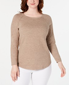 Karen Scott Cotton Marled Curved-Hem Top, Created for Macy's