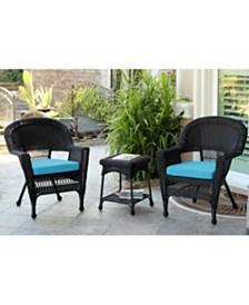 Jeco Wicker Chair and End Table Set with Cushion