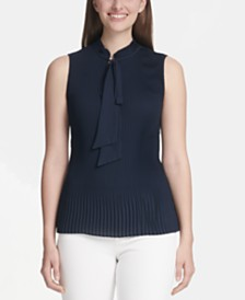 DKNY Pleated Tie-Neck Top