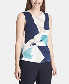 Petite Abstract-Print Side-Knot Top
