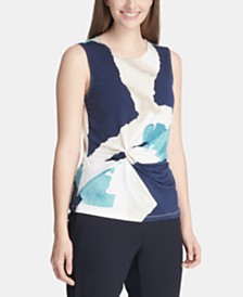 DKNY Abstract-Print Side-Knot Top