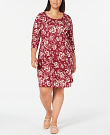 Karen Scott Plus Size 3/4-Sleeve Floral-Print Dress, Created for Macy's