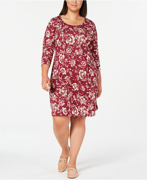 Karen Scott Plus Size 3/4-Sleeve Floral-Print Dress, Created ...