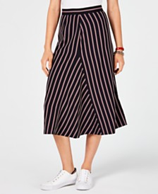 Tommy Hilfiger Striped Midi Skirt, Created for Macy's