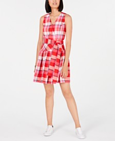 Tommy Hilfiger Cotton Plaid Wrap Dress, Created for Macy's