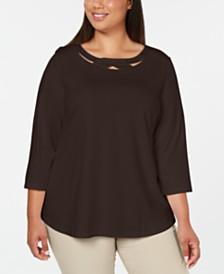 Karen Scott Plus Size 3/4-Sleeve Cutout Top, Created for Macy's