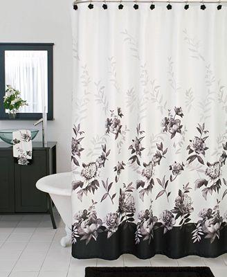 lenox bath accessories, moonlit garden shower curtain - bathroom
