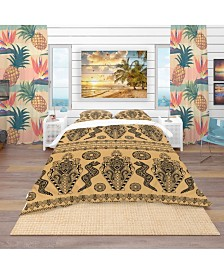 Designart 'Ethnic African Decorative Pattern' Tropical Duvet Cover Set - Queen