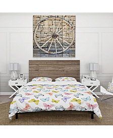 Designart 'Watercolor Butterfly Pattern' Cabin and Lodge Duvet Cover Set - Queen
