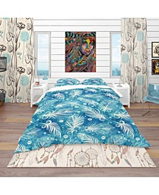Designart 'Pattern With Feathers And Circles' Southwestern Duvet Cover Set - Queen
