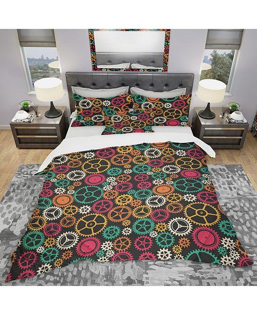 Design Art Designart 'Colored Clockwork Texture' Modern and Contemporary Duvet Cover Set - King