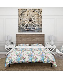 Designart 'Texture With Couples Of Birds and Butterflies' Country Duvet Cover Set - King