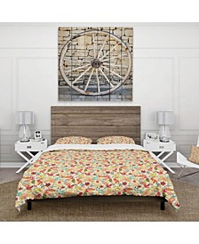 Designart 'Pattern With Stylized Autumn Leaves' Modern and Contemporary Duvet Cover Set - King