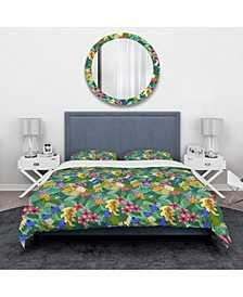 Designart 'Texture With Abstract Flowers and Leaves' Modern and Contemporary Duvet Cover Set - King