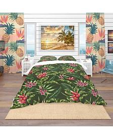 Designart 'Floral Pattern' Tropical Duvet Cover Set - Twin