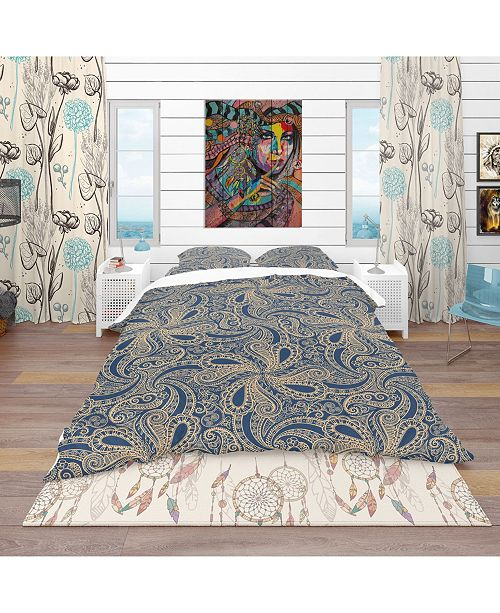 Design Art Designart 'Lace Pattern' Bohemian and Eclectic Duvet Cover Set - Queen