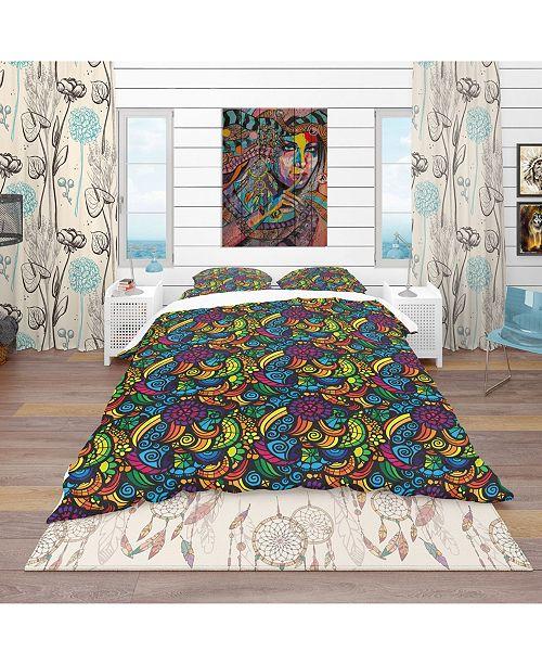Design Art Designart 'Multicolor Mosaic Pattern' Bohemian and Eclectic Duvet Cover Set - Queen