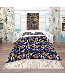 Designart 'Watercolor Butterfly Pattern' Modern and Contemporary Duvet Cover Set - Queen