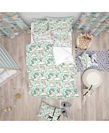 Designart 'Pattern With Cute Unicorns And Clouds' Modern Kids Duvet Cover Set - Twin